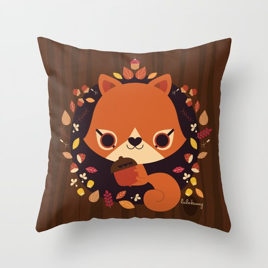 Wintertime Squirrel Throw Pillow