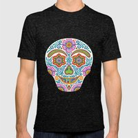Flower Power Skully Mens Fitted Tee Tri-Black SMALL