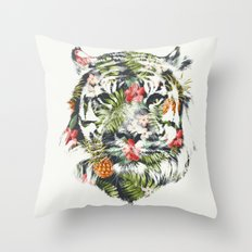 Tropical tiger Throw Pillow