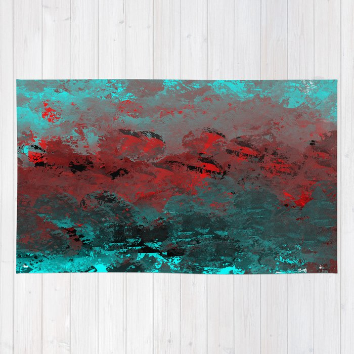 Cool Aqua And Red Abstract Rug By Jessielee
