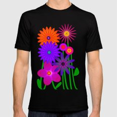 Flowers Black SMALL Mens Fitted Tee