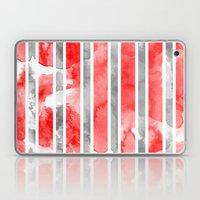 Watercolour Stripe - Red Laptop & iPad Skin