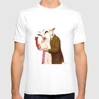 Mr & Ms Sheep Mens Fitted Tee White SMALL