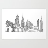 NYC Landmarks by the Downtown Doodler Art Print