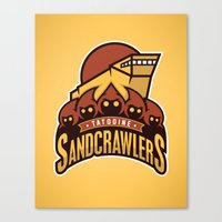 Tatooine SandCrawlers - Gold Canvas Print