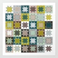 Winter Quilt Folk Pattern Art Print