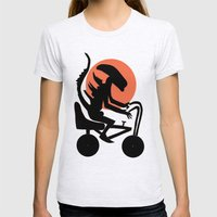 alien on a chopper Womens Fitted Tee Ash Grey SMALL