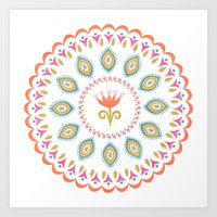 Suzani inspired floral 3 Art Print
