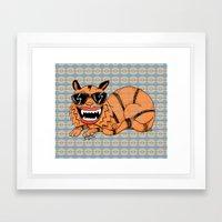Kickflip Cat Framed Art Print