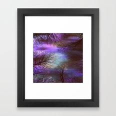 midnight trees purple green teal Framed Art Print