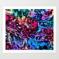 Objects Floating in Aurora2 Art Print