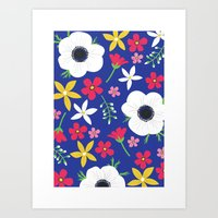 Betty Blue Floral Art Print
