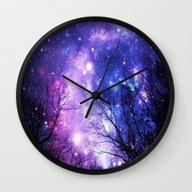 Black Trees Purple Blue … Wall Clock