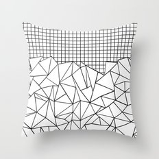 Abstract Grid #2 Black on White Throw Pillow