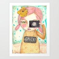 Smile ! Girl With Photo … Art Print