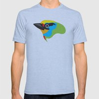 Black-browed Barbet Mens Fitted Tee Athletic Blue SMALL