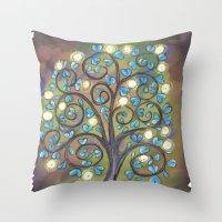 Brown Mystic Tree Throw Pillow