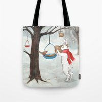 Filling the Bird Feeder Tote Bag