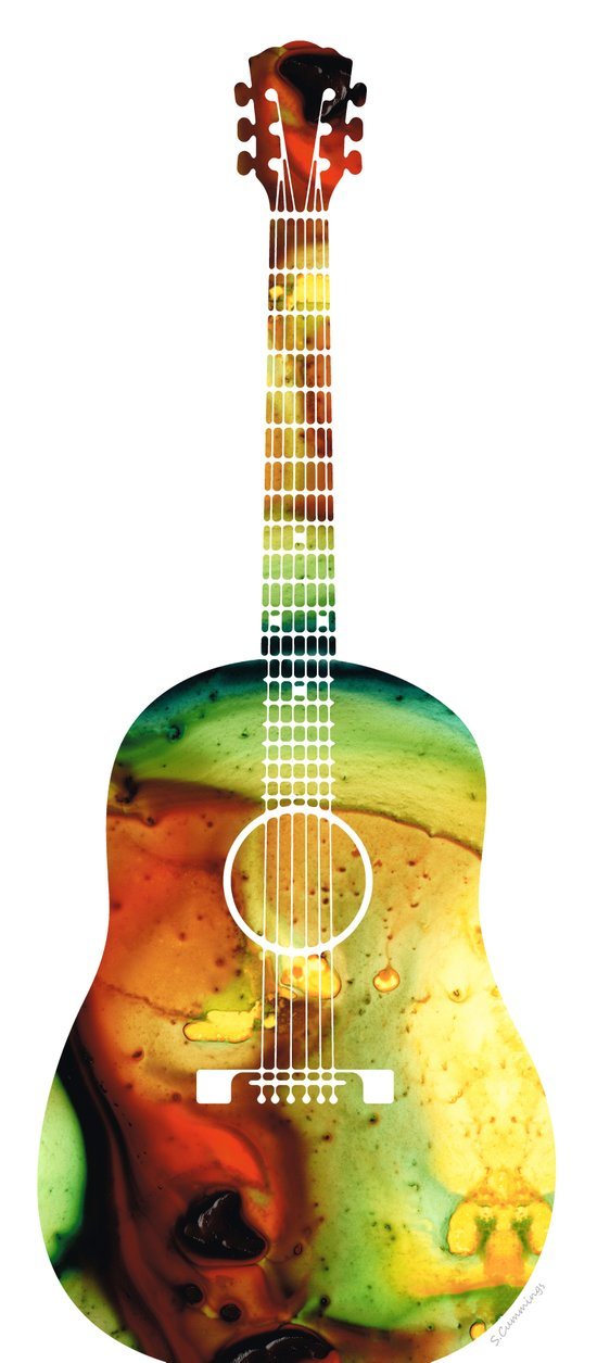 acoustic guitar colorful abstract musical instrument art print by sharon cummings society6. Black Bedroom Furniture Sets. Home Design Ideas