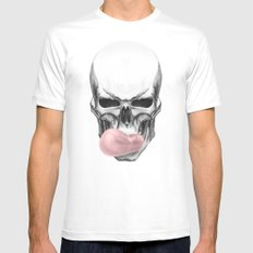 Skull chewing bubblegum Mens Fitted Tee White SMALL