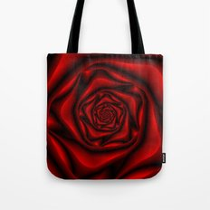 Rose Spiral in Black and Red Tote Bag