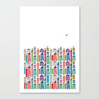 Houses and Birds Canvas Print