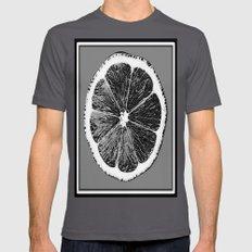 Black & white Modern Art Grape Fruit Graphic Mens Fitted Tee Asphalt SMALL