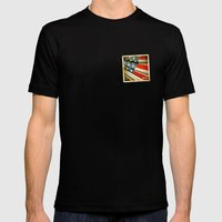 Grunge sticker of United States flag Mens Fitted Tee Black SMALL