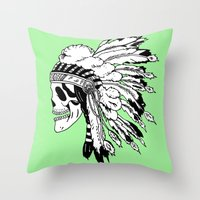 Black and White Native American  Throw Pillow