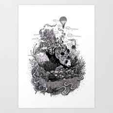 Land of the Sleeping Giant (ink drawing) Art Print
