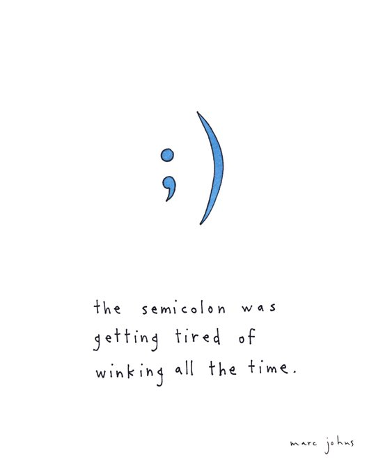 the semicolon was getting tired of winking Canvas Print