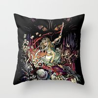 Zombies In Wonderland Throw Pillow