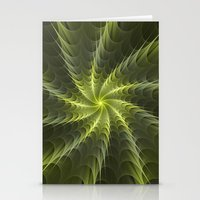 Psychedelic Fractal with Shades of Green Stationery Cards