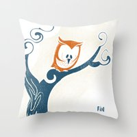 Little Owlet In A Tree Throw Pillow