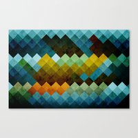 Abstract Cubes BYG Canvas Print