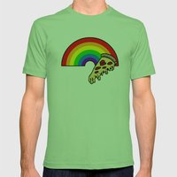 Pizza Rainbow Mens Fitted Tee Grass SMALL