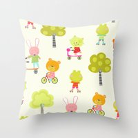 Animals on the Move Throw Pillow