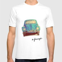 Fusca Azul Mens Fitted Tee White SMALL