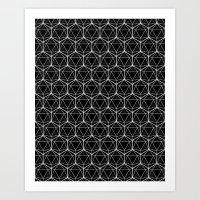 Icosahedron Pattern Blac… Art Print