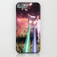 iPhone Cases featuring Mega Space Cat Rising by Hayley Sargent
