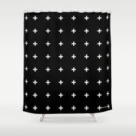 Shower Curtain featuring White Plus On Black /// … by Pencil Me In ™