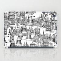 Doctor Who Toile de Jouy | 'Walking Doodle' | Black iPad Case