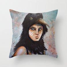 Raven girl Throw Pillow