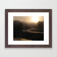 The long and winding misty and moody road Framed Art Print