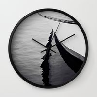 Reflections Black And Wh… Wall Clock