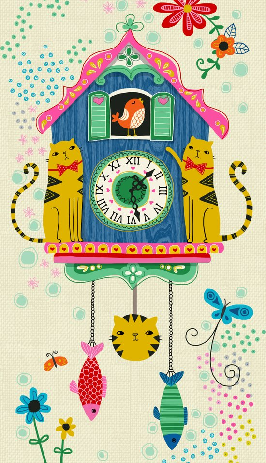 Cuckoo Clock Cats Art Print