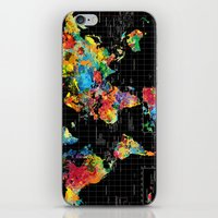 Abstract World Map Black iPhone & iPod Skin