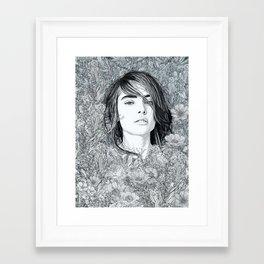 Framed Art Print - White Moon Garden - PedroTapa