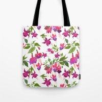April blooms IV - Fuchsia White Tote Bag