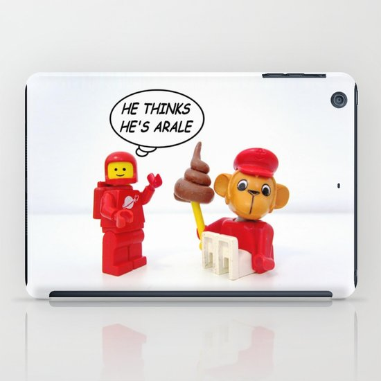 "space lego meeting the ""arale wannabe"" monkey iPad Case"
